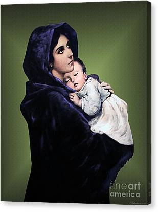 Canvas Print featuring the digital art Madonna With Child by A Samuel