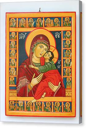 Madonna With Child Jesus Surrounded By Saints Hand Painted Wooden Orthodox Icon Canvas Print by Denise Clemenco