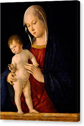Madonna With The Child Blessing Canvas Print by Giovanni Bellini