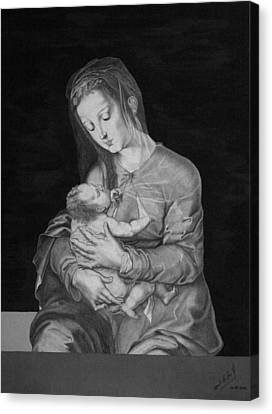 Madonna With The Child Canvas Print by Miguel Rodriguez