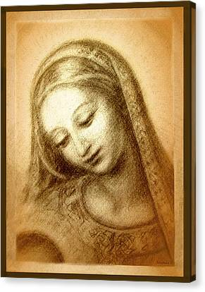 Madonna And Child Canvas Print - Madonna With The Dove Face by Ananda Vdovic