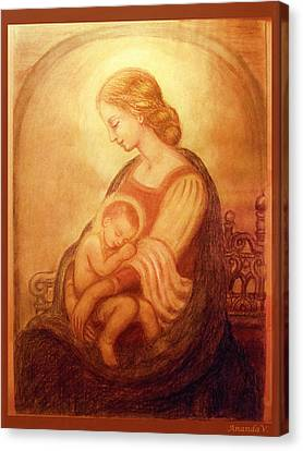 Canvas Print featuring the mixed media Madonna With The Sleeping Child by Ananda Vdovic