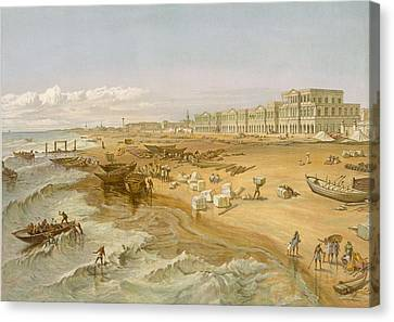 Coastal Canvas Print - Madras, From India Ancient And Modern by William 'Crimea' Simpson