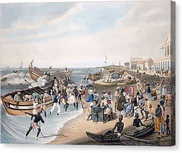 Madras Landing, Engraved By C. Hunt Canvas Print by J.B. East