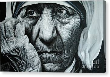 Mother Teresa - Painting Canvas Print by Stu Braks