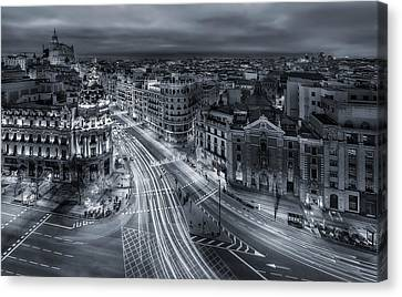 Madrid City Lights Canvas Print by Javier De La