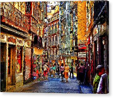 Madrid Lookers 2 Canvas Print by Cary Shapiro