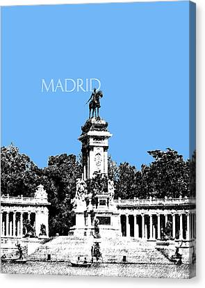 Madrid Skyline Retiro Park - Light Blue Canvas Print by DB Artist