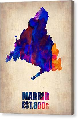 Madrid Watercolor Map Canvas Print by Naxart Studio