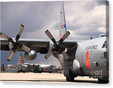 Canvas Print featuring the photograph Maffs C-130s At Cheyenne by Bill Gabbert