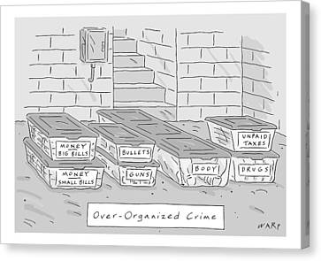 Labelled Canvas Print - Mafia-themed Organizing Compartments Are Stacked by Kim Warp