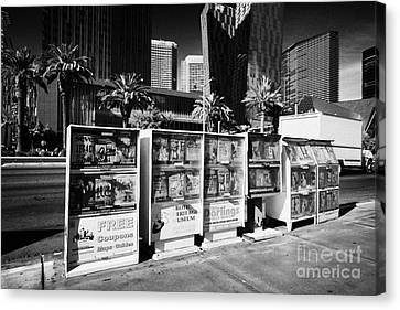 magazine stands free coupons guides and escort directories Las Vegas Nevada USA Canvas Print by Joe Fox