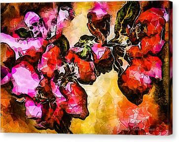 Magenta Flowers  -- Cubism Canvas Print