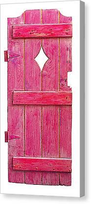 Magenta Pink Painted Garden Door Canvas Print by Asha Carolyn Young