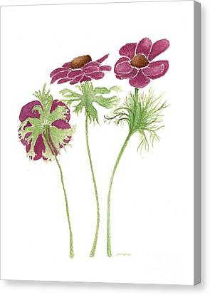 Canvas Print featuring the painting Magenta Wind Flowers by Nan Wright