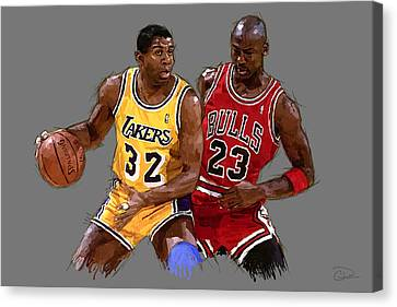 Chicago Bulls Canvas Print - Magic And Michael by Charley Pallos