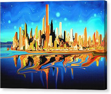 New York Skyline In Blue Orange - Abstract Art Canvas Print by Art America Gallery Peter Potter