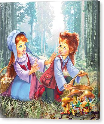 Mushroom Canvas Print - Magic Forest Mushrooms by Zorina Baldescu