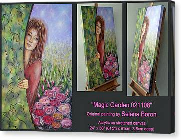 Canvas Print featuring the painting Magic Garden 021108 Comp by Selena Boron