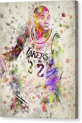 Nba Drawings Canvas Print - Magic Johnson by Aged Pixel