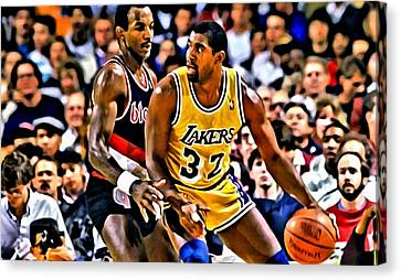 Magic Johnson Vs Clyde Drexler Canvas Print by Florian Rodarte