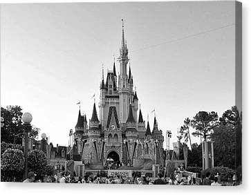 Magic Kingdom Castle In Black And White Canvas Print by Thomas Woolworth