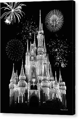 Monorail Canvas Print - Magic Kingdom Castle In Black And White With Fireworks Walt Disney World by Thomas Woolworth