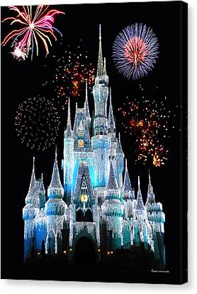 Monorail Canvas Print - Magic Kingdom Castle In Frosty Light Blue With Fireworks 06 by Thomas Woolworth