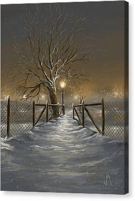 Snowy Night Canvas Print - Magic Night by Veronica Minozzi