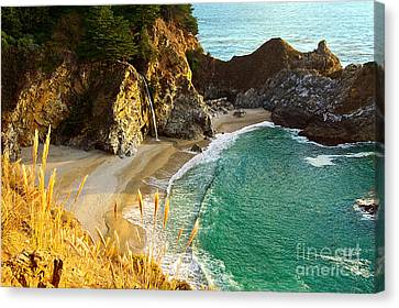 Magical Falls Of Mcway Waterfall At Julia Pfeiffer Burns State Park Canvas Print by Jamie Pham
