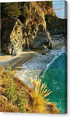 Magical Falls Of Mcway Waterfall At Julia Pfeiffer Burns State Park Near Monterey. Canvas Print by Jamie Pham