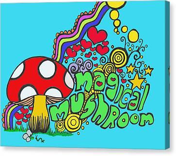 Magical Mushroom Pop Art Canvas Print by Moya Moon