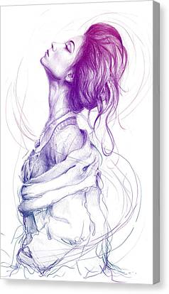 Colorful Canvas Print - Purple Fashion Illustration by Olga Shvartsur