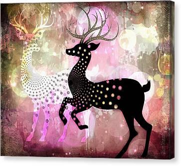 Wildlife Celebration Canvas Print - Magical Reindeers by Barbara Orenya