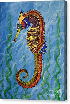 Canvas Print featuring the painting Magical Seahorse by Suzette Kallen