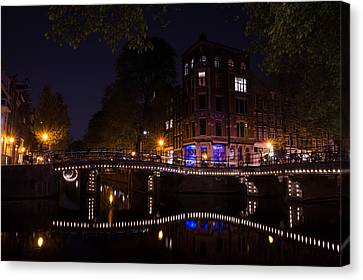 Magical Sparkling Amsterdam Canals And Bridges At Night Canvas Print