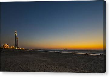 Canvas Print featuring the photograph magical sunset moments at Caesarea  by Ron Shoshani