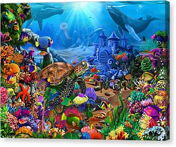 Beautiful Scenery Canvas Print - Magical Undersea Turtle by Gerald Newton