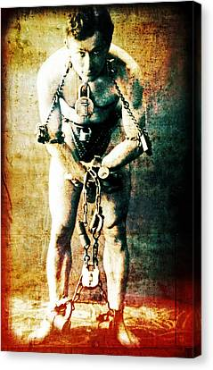 Magician Harry Houdini In Chains   Canvas Print by Jennifer Rondinelli Reilly - Fine Art Photography