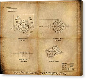 Magneto System Blueprint Canvas Print by James Christopher Hill