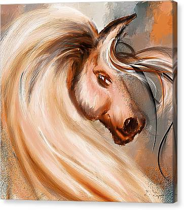 Magnificence- Colorful Horse- White And Brown Paintings Canvas Print