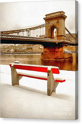 Magnificent Chain Bridge In Beautiful Budapest Canvas Print by Odon Czintos