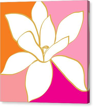 Magnolia 4- Colorful Flower Art Canvas Print