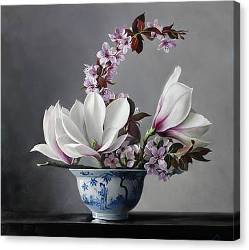 Magnolia And Apple Blossem Canvas Print by Pieter Wagemans