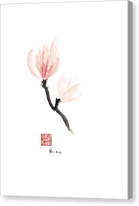 Magnolia Pink Flower Flowers Delicate Watercolor Painting Canvas Print