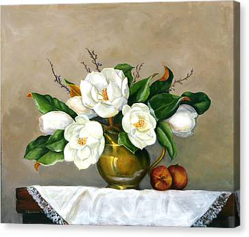 Canvas Print featuring the painting Magnolias - Southern Beauties by Sandra Nardone