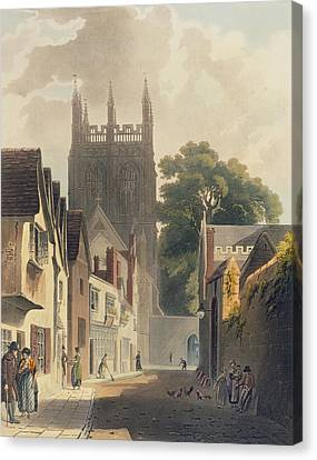 Hoops Canvas Print - Magpie Lane, Oxford, Illustration by Augustus Charles Pugin