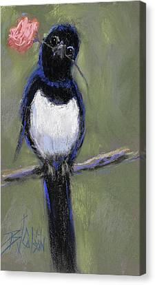 Magpie Love Canvas Print by Billie Colson
