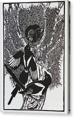 Black-billed Magpie Canvas Print - Magpies -- Woodcut Illustration For Corvidae by Dawn Senior-Trask