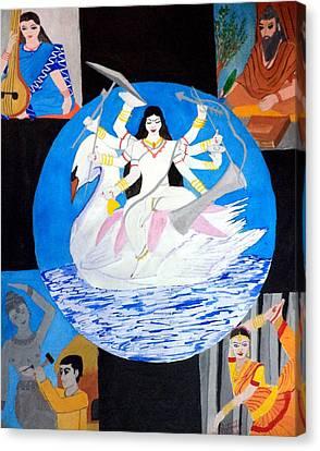 Goddess Durga Canvas Print - Mahasaraswati by Pratyasha Nithin